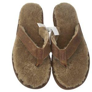 Sold! Ugg Flip Flops Sheepskin Lining Mens 18